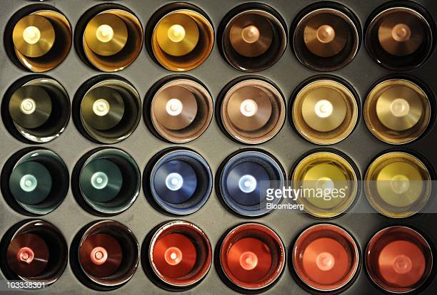 Nestle SA Nespresso coffee capsules are seen in one of the company's shops in Munich Germany on Tuesday Aug 10 2010 Nestle SA the world's largest...