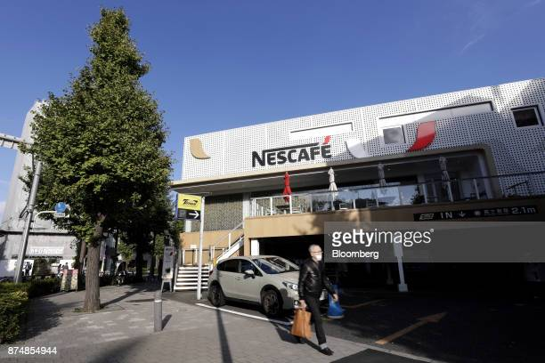 Nestle SA's Nescafe coffee shop stands in the Harajuku district of Tokyo Japan on Thursday Nov 16 2017 A staffless cafe served by robots within the...