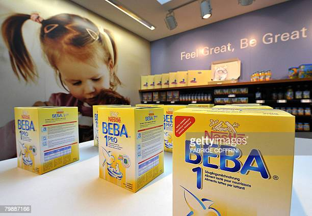 Nestle's baby milk 'Beba' is seen on February 21 2008 at the supermarket company at the Headquaters in Vevey The world's number one food manufacturer...