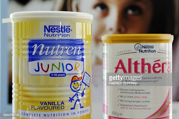 Nestle's products are displayed at a press conference at the Swiss Federal Institute of Technology on September 27 2010 in Lausanne Swiss food giant...