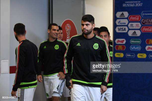 Nestor Araujo and Mexico players are seen in the tunnel prior to the FIFA Confederations Cup Russia 2017 Group A match between Mexico and Russia at...