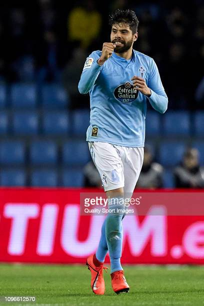 Nestor Araujo of Celta de Vigo celebrates after scoring his team's first goal during the La Liga match between RC Celta de Vigo and Valencia CF at...