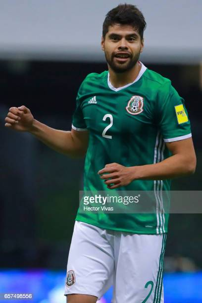 Nestor Araujo of Mexico celebrates after scoring the second goal of his team during the fifth round match between Mexico and Costa Rica as part of...