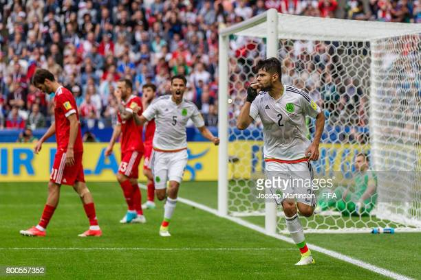 Nestor Araujo of Mexico celebrates his goal during the FIFA Confederations Cup Russia 2017 group A football match between Mexico and Russia at Kazan...