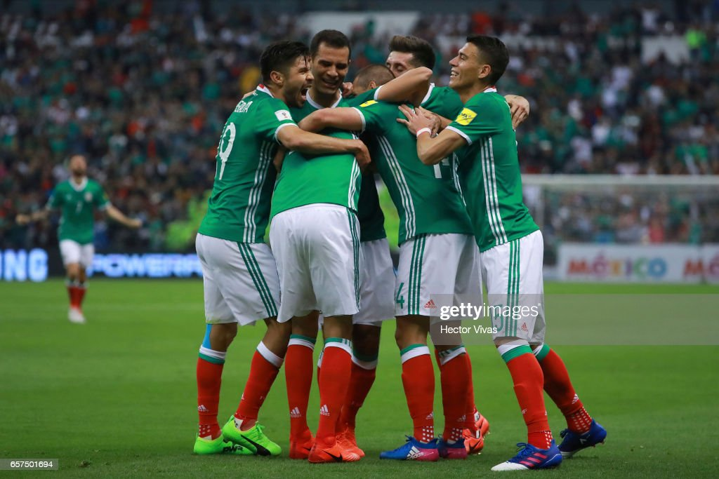 Nestor Araujo of Mexico celebrates with teammates after scoring the second goal of his team during the fifth round match between Mexico and Costa Rica as part of the FIFA 2018 World Cup Qualifiers at Azteca Stadium on March 24 , 2017 in Mexico City, Mexico.