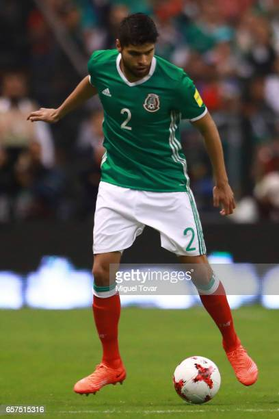 Nestor Araujo of Mexico drives the ball during the fifth round match between Mexico and Costa Rica as part of the FIFA 2018 World Cup Qualifiers at...