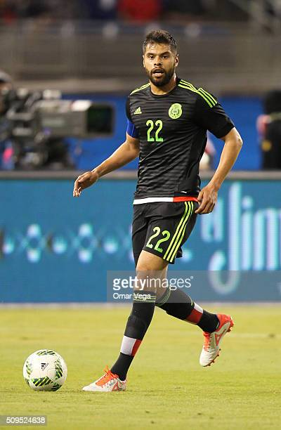 Nestor Araujo of Mexico drives the ball during the international friendly match between Mexico and Senegal at Marlins Park on February 10 2016 in...