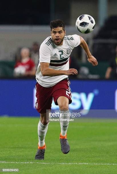 Nestor Araujo of Mexico pursues the ball during an international friendly soccer match against Croatia at ATT Stadium on March 27 2018 in Arlington...