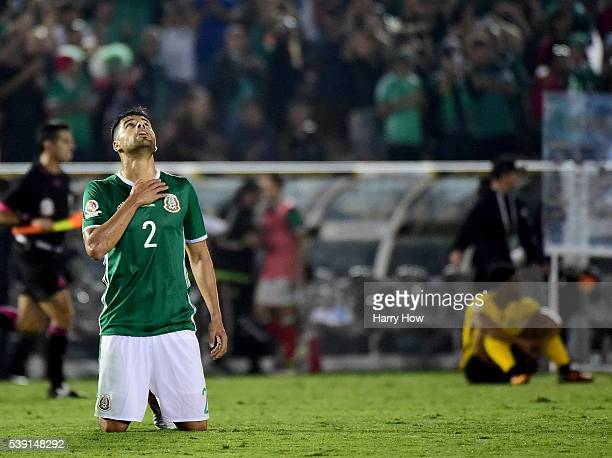 Nestor Araujo of Mexico reacts to a 20 win over Jamaica during Copa America Centenario at Rose Bowl on June 9 2016 in Pasadena California
