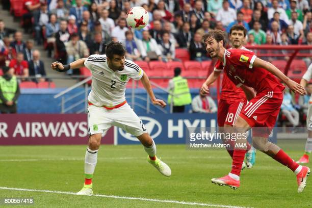 Nestor Araujo of Mexico scores a goal to make the score 11 during the FIFA Confederations Cup Russia 2017 Group A match between Mexico and Russia at...