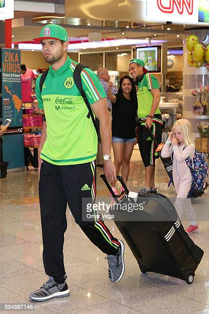 Nestor Araujo of Mexico walks during the Mexico National Team arrival to United States at HartsfieldJackson International Airport on May 26 2016 in...