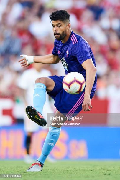 Nestor Araujo of RC Celta de Vigo in action during the La Liga match between Sevilla FC and RC Celta de Vigo at Estadio Ramon Sanchez Pizjuan on...