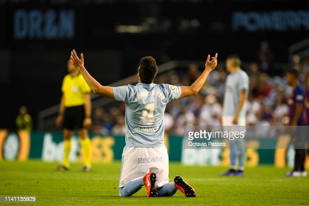Nestor Araujo of RC Celta reacts after the referee nullifies his goal during the La Liga match between RC Celta de Vigo and FC Barcelona at...