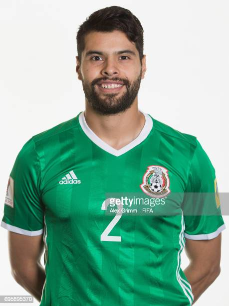 Nestor Araujo poses for a picture during the Mexico team portrait session on June 14 2017 in Kazan Russia