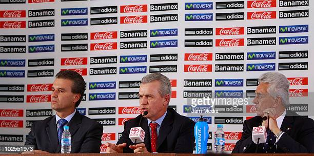 Nestor de la Torre Javier Aguirre and Justino Compean during a press conference to announce that Aguirre will step down from his job at the High...