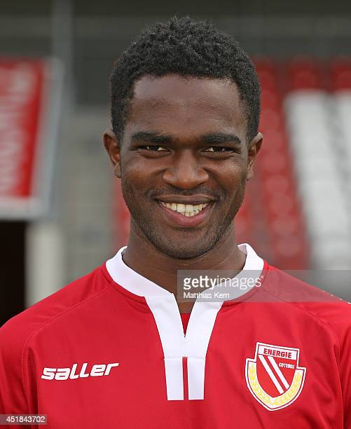 Nestor Djengoue poses during the FC Energie Cottbus team presentation at Stadion der Freundschaft on July 8 2014 in Cottbus Germany