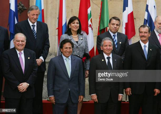 Nestor Kirchner President of Argentina is joined by El Salvador's Vice President Ana Vilma Cuban Foreign Minister Felipe Perez Roque Secretary...
