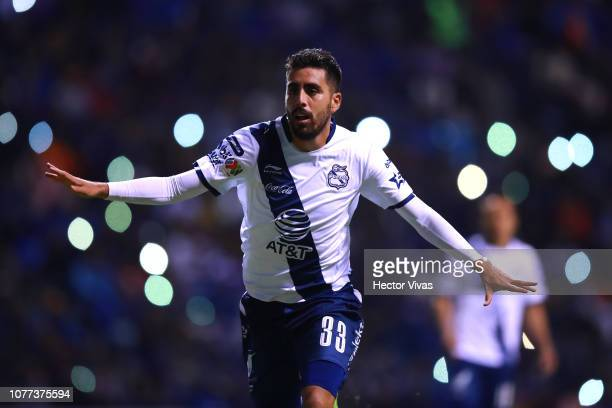 Nestor Vidrio of Puebla reacts during the 1st round match between Puebla and Cruz Azul as part of the Torneo Clausura 2019 Liga MX at Cuauhtemoc...