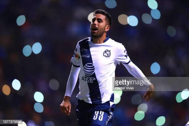 Nestor Vidrio of Puebla reacts during the 1st round match between Puebla and Cruz Azul as part of the Torneo Clausura 2019 Liga MX at Cuauhtemoc...