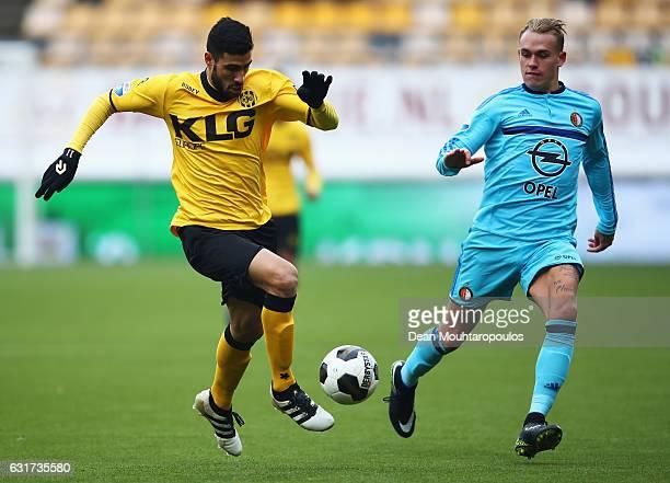 Nestoras Mitidis of Roda JC battles for the ball with Rick Karsdorp of Feyenoord Rotterdam during the Dutch Eredivisie match between Roda JC and...