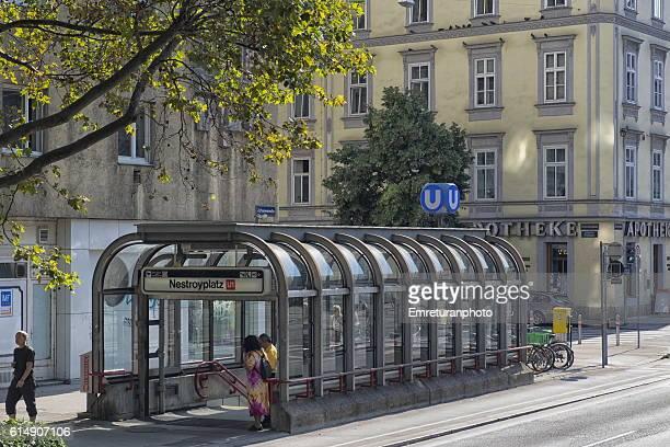 nestroyplatz subway station entrance - emreturanphoto stock pictures, royalty-free photos & images