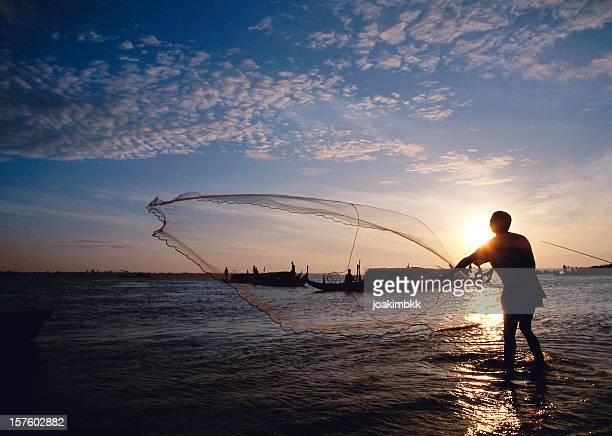 Net fisherman on the Mekong river in Cambodia
