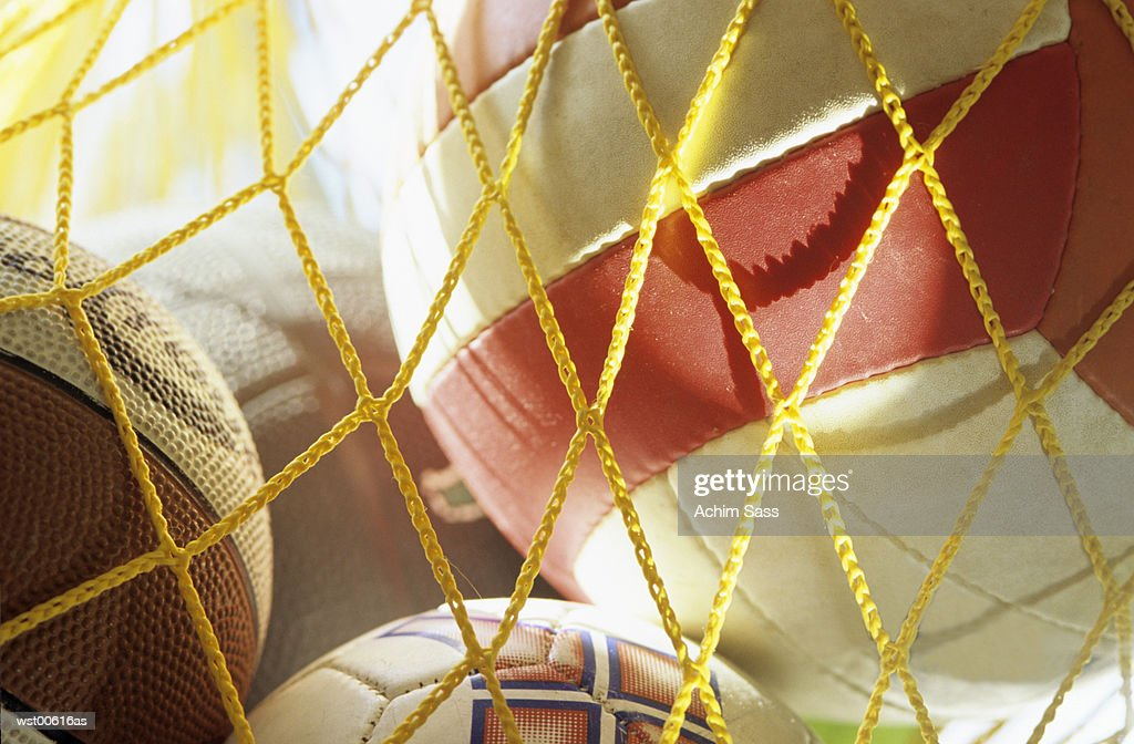 Net full of balls, close up : Stock Photo