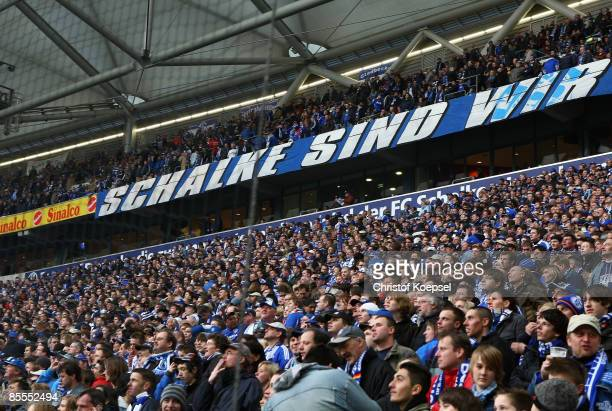 Net is installed the first time in the North corner of the Schalke fans during the Bundesliga match between Schalke 04 and Hamburger SV at the...