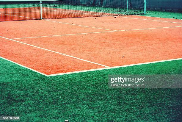 Net On Clay Tennis Court