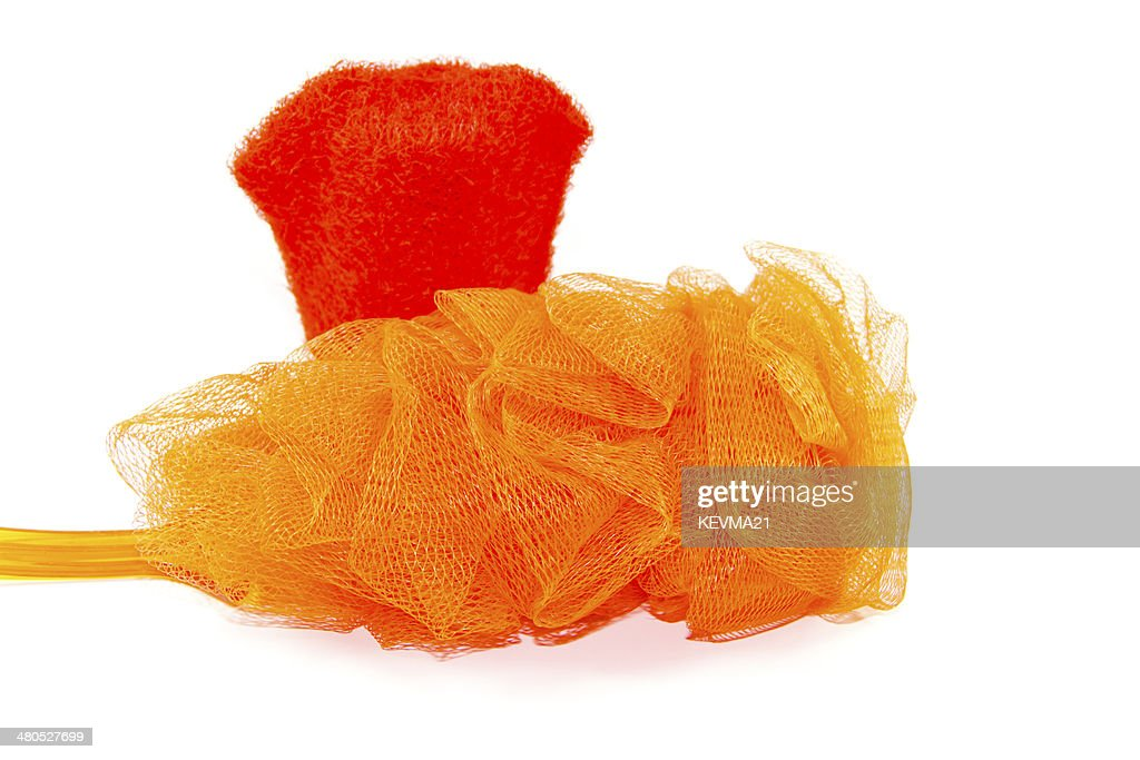 Net Sponge with  Red Massage Glove : Bildbanksbilder