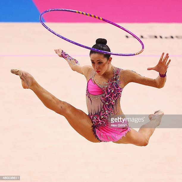 Neta Rivkin of Israel performs with the hoop during the individual competition of the GAZPROM World Cup Rhythmic Gymnastics at Porsche Arena on March...
