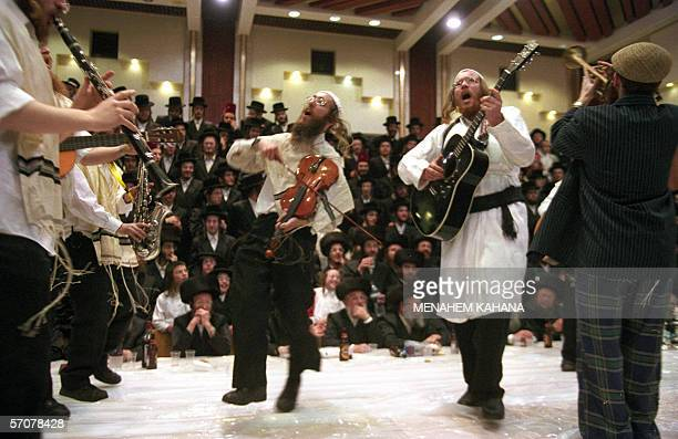 Ultra Orthodox Jews from the Tzanz Hassidim group perform a Purim show at the synagogue in the Israeli town of Netanya near north of Tel Aviv 14...