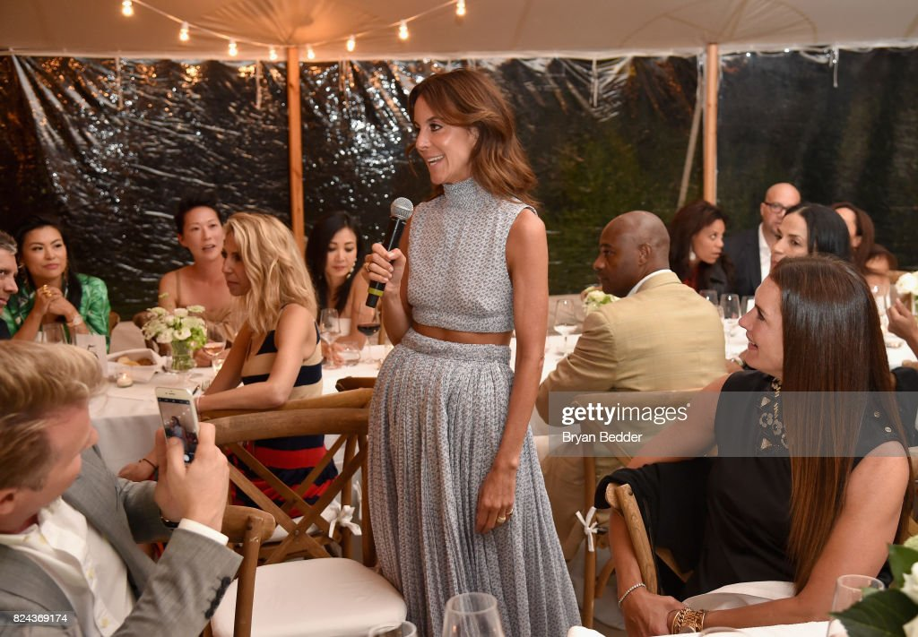 Net-A-Porter President Alison Loehnis speaks to guests during The GOOD+ Foundation's Hamptons Summer Dinner co-hosted by NET-A-PORTER on July 29, 2017 in East Hampton, New York.