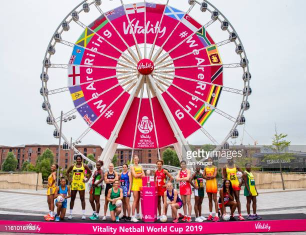 Netball captains from around the world come together to officially launch the Vitality Netball World Cup 2019 at Albert Docks on July 09 2019 in...