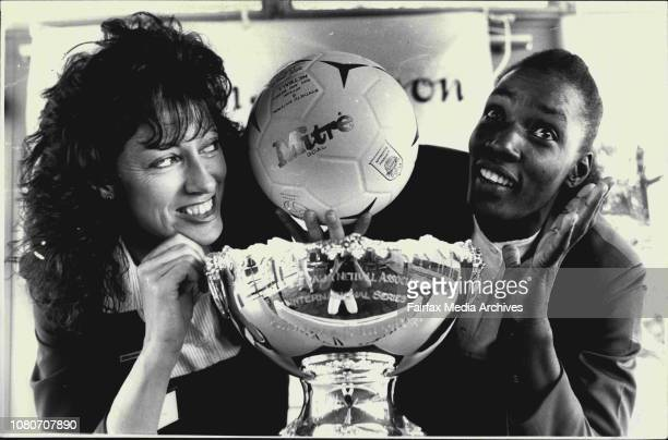 Netball Cup Press Conference at North Sydney in picture Australia Cptn Anne Seargant and Trinidad Cptn Jennifer Frank and the Cup May 13 1988