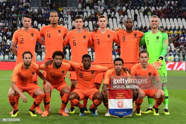 Neteherlands' national team players defender defender Daley Blind midfielder Tonny Vilhena midfielder Georginio Wijnaldum forward Memphis Depay...