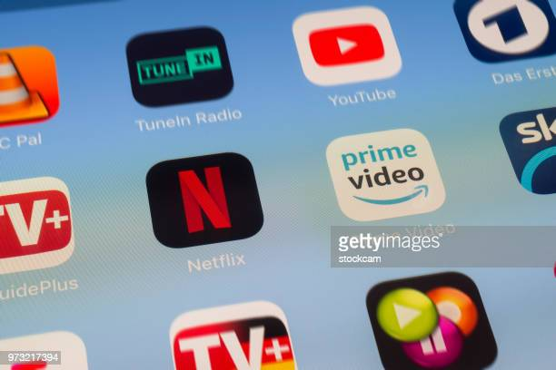 Netflix, Amazon Prime and other video streaming Apps on iPad screen