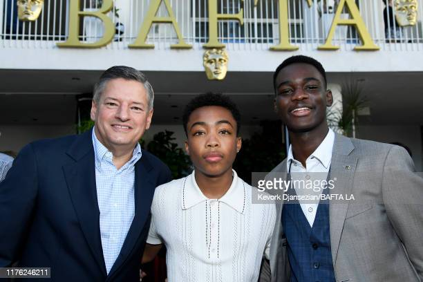 Netflix CCO Ted Sarandos Asante Blackk and Ethan Herisse attend the BAFTA Los Angeles BBC America TV Tea Party 2019 at The Beverly Hilton Hotel on...