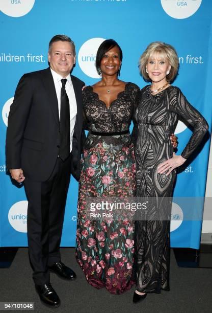 Netflix CCO Ted Sarandos Former US Ambassador Nicole Avant and Jane Fonda attend the Seventh Biennial UNICEF Ball Los Angeles on April 14 2018 in...