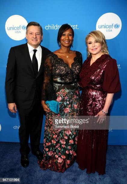 Netflix CCO Ted Sarandos Former US Ambassador Nicole Avant and UUSA Board of Directors Event Chair Ghada Irani attend the 7th Biennial UNICEF Ball on...