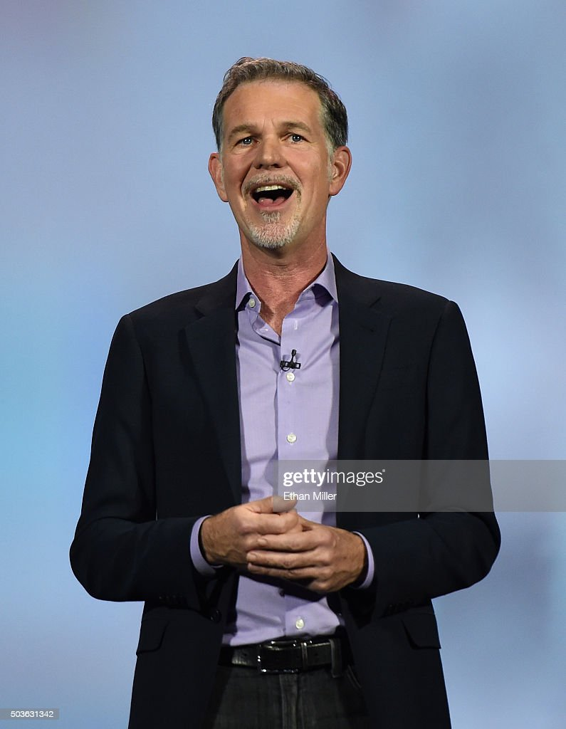 Netflix CEO Reed Hastings delivers a keynote address at CES 2016 at The Venetian Las Vegas on January 6, 2016 in Las Vegas, Nevada. CES, the world's largest annual consumer technology trade show, runs through January 9 and is expected to feature 3,600 exhibitors showing off their latest products and services to more than 150,000 attendees.