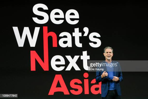 Netflix CEO Reed Hastings delivers his opening address during day one of the Netflix See What's Next Asia event at the Marina Bay Sands on November 8...