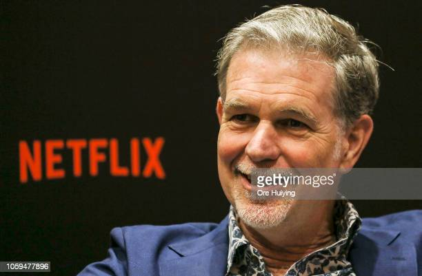 Netflix CEO Reed Hastings speaks during an interview on day two of the Netflix See What's Next Asia event at the Marina Bay Sands on November 9 2018...