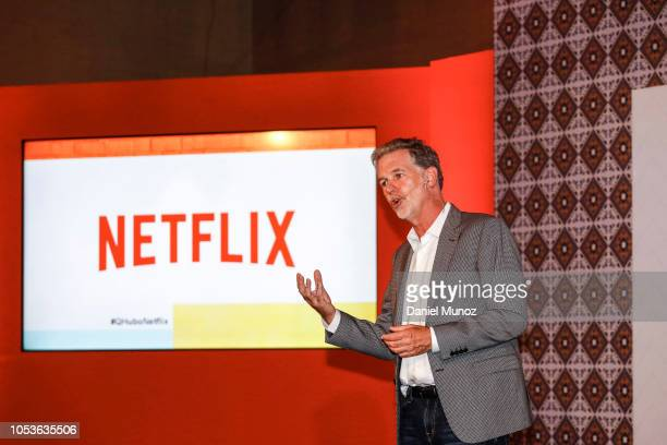 Netflix CEO Reed Hastings speaks during Netflix Slate Event 2018 at JW Marriot on October 9 2018 in Bogota Colombia