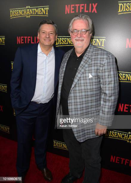 Netflix CEO Ted Sarandos and Matt Groening attend the screening of Netflix's Disenchantment at the Vista Theatre on August 14 2018 in Los Angeles...