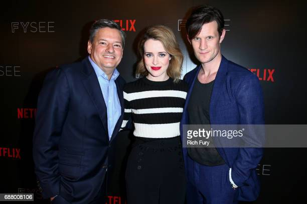 Netflix Chief Content Officer Ted Sarandos actor Claire Foy and actor Matt Smith attend Netflix's 'The Crown' For Your Consideration Event at Netflix...
