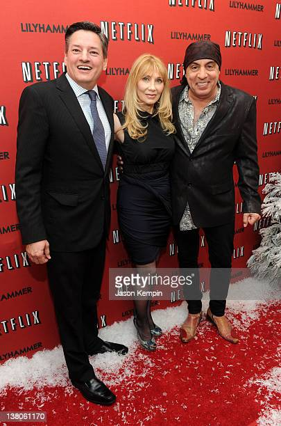 Netflix Chief Content Officer Ted Sarandos actress Maureen Van Zandt and actor Steven Van Zandt attend the North American Premiere Of Lilyhammer a...