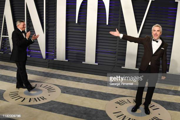 Netflix Chief Content Officer Ted Sarandos and Best Director cinematography and foreign language film winner for 'Roma' Alfonso Cuaron attend the...