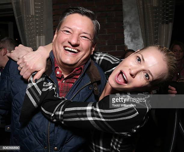 Netflix Chief Content Officer Ted Sarandos and Chelsea Handler attend the 'Chelsea Does' Netflix Party at Tupelo at Sundance on January 22 2016 in...