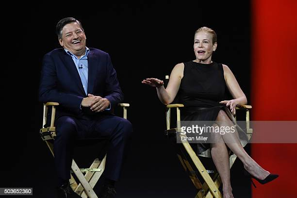 Netflix Chief Content Officer Ted Sarandos and comedian and television host Chelsea Handler speak during a keynote address by Netflix CEO Reed...